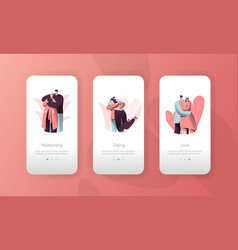 love couple people hugging mobile app screen set vector image