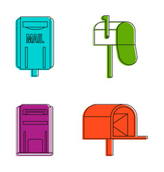mail box icon set color outline style vector image