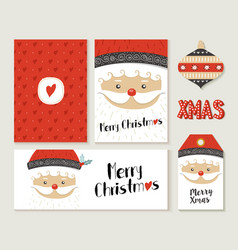 Merry christmas santa claus card and label set vector
