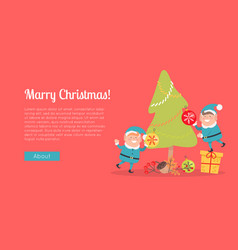 Merry christmas web banner two elves in blue suits vector