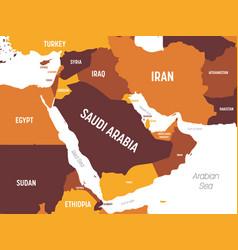 Middle east map - brown orange hue colored on dark vector