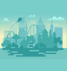 modern amusement park silhouette landscape vector image