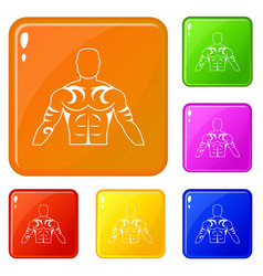 Muscular man with tattoo icons set color vector