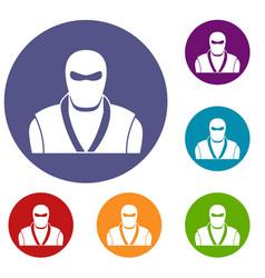 Ninja in black mask icons set vector