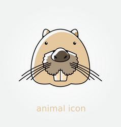 Otter beaver flat icon Animal head vector image vector image
