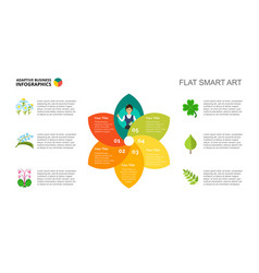 Petal chart with five elements template vector