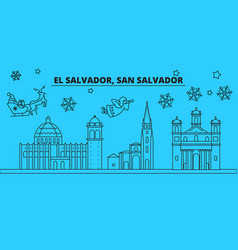 san salvador winter holidays skyline merry vector image
