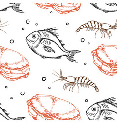 Seamless pattern with crab and fish vector