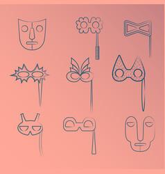 Set of blue line art carnival and tribal masks vector