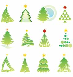Set of Christmas firs vector
