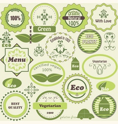 set of eco labels and vegetarian design elements vector image
