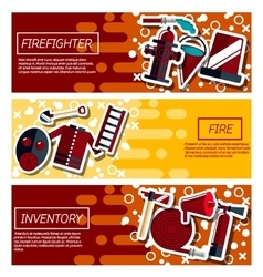 Set of Horizontal Banners about firefighter vector image