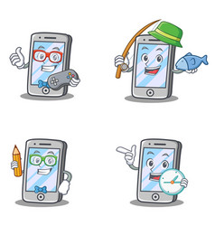 set of iphone character with gamer fishing geek vector image