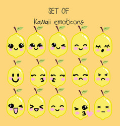 set of kawaii emoticons cute lemon vector image