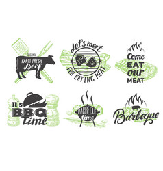 set vintage grill emblems logos and vector image