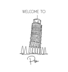 single one line drawing lean pisa tower vector image
