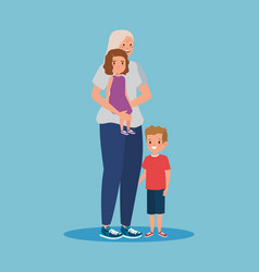 Smile grandmother with girl and boy kids vector