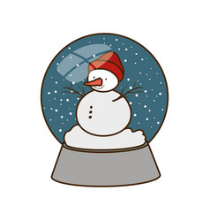 Snow man in crystal ball isolated icon vector