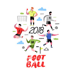soccer cartoon players doodle football player vector image