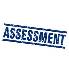 Square grunge blue assessment stamp vector