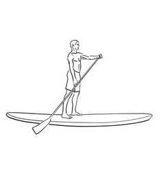 Stand up paddle surfing boarding sup fitness vector