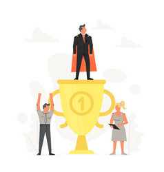 successful and young businessman on podium little vector image