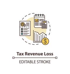 Tax revenue loss concept icon vector