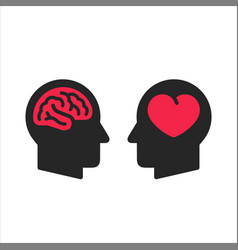 two head silhouette with heart and brain symbols vector image
