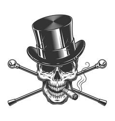Vintage monochrome gentleman skull smoking cigar vector