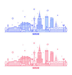 warsaw skyline poland city buildings vector image