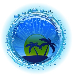 Water bubble border with evening sky and palm vector