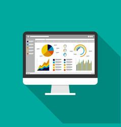 Web statistics analytic charts on computer screen vector