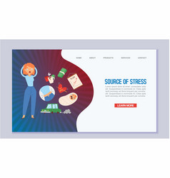 woman in stress and panic surrounded work and vector image