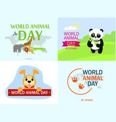 world animal day banner set flat style vector image