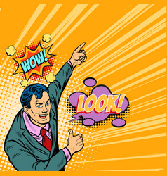 Wow look businessman pop art vector