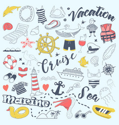 beach vacation freehand doodles with cruise vector image