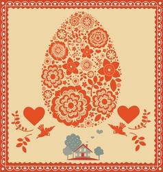 floral ornamental easter egg -poster vector image