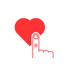 thin line finger presses on red heart button vector image