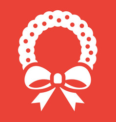 christmas wreath with bow glyph icon new year vector image vector image