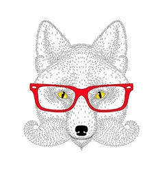 Cute fox portrait with french mustache beard vector image vector image