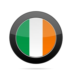 Flag of ireland shiny black round button vector