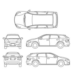 line drawing of car white vehicle computer vector image