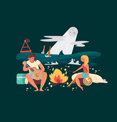 night picnic on beach vector image vector image