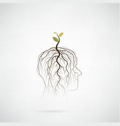 Tree of green idea shoot grow on human head vector image vector image