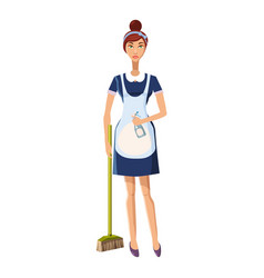 woman with brush icon cartoon style vector image