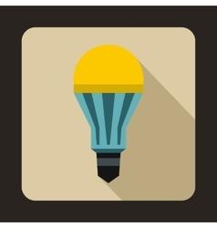 Yellow LED bulb icon flat style vector image
