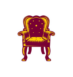 Baroque grand arm chair woodcut vector