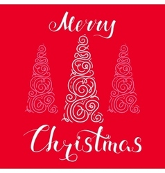 Merry Christmas Snow and Tree Red vector image vector image