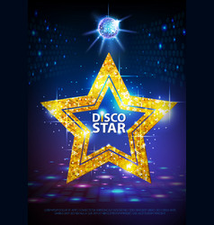 Silhouette of gold disco star sign on disco ball vector