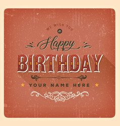 vintage red happy birthday card vector image